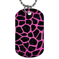 Skin1 Black Marble & Pink Brushed Metal Dog Tag (one Side) by trendistuff