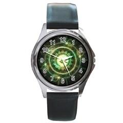Green Chaos Clock, Steampunk Alchemy Fractal Mandala Round Metal Watch by beautifulfractals