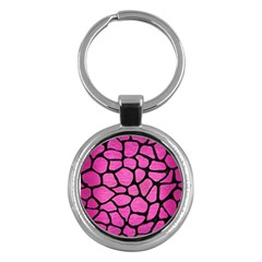 Skin1 Black Marble & Pink Brushed Metal (r) Key Chains (round)  by trendistuff