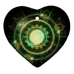 Green Chaos Clock, Steampunk Alchemy Fractal Mandala Ornament (heart) by jayaprime