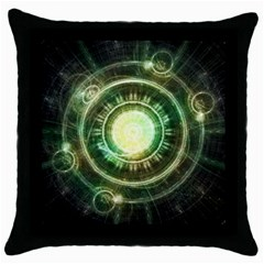 Green Chaos Clock, Steampunk Alchemy Fractal Mandala Throw Pillow Case (black) by beautifulfractals