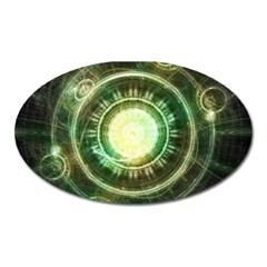 Green Chaos Clock, Steampunk Alchemy Fractal Mandala Oval Magnet by jayaprime