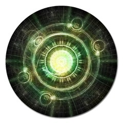 Green Chaos Clock, Steampunk Alchemy Fractal Mandala Magnet 5  (round) by jayaprime