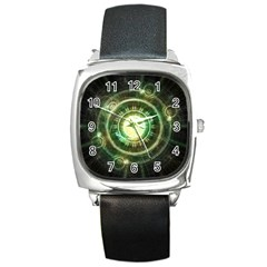 Green Chaos Clock, Steampunk Alchemy Fractal Mandala Square Metal Watch by beautifulfractals