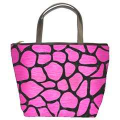 Skin1 Black Marble & Pink Brushed Metal (r) Bucket Bags by trendistuff
