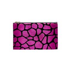 Skin1 Black Marble & Pink Brushed Metal (r) Cosmetic Bag (small)  by trendistuff