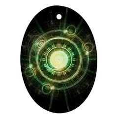 Green Chaos Clock, Steampunk Alchemy Fractal Mandala Oval Ornament (two Sides) by jayaprime