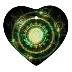 Green Chaos Clock, Steampunk Alchemy Fractal Mandala Heart Ornament (two Sides) by jayaprime