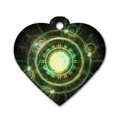 Green Chaos Clock, Steampunk Alchemy Fractal Mandala Dog Tag Heart (two Sides) by beautifulfractals