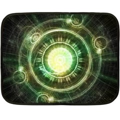 Green Chaos Clock, Steampunk Alchemy Fractal Mandala Double Sided Fleece Blanket (mini)  by beautifulfractals