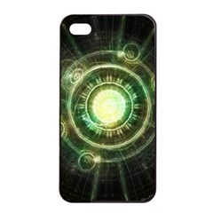 Green Chaos Clock, Steampunk Alchemy Fractal Mandala Apple Iphone 4/4s Seamless Case (black) by jayaprime