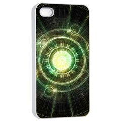 Green Chaos Clock, Steampunk Alchemy Fractal Mandala Apple Iphone 4/4s Seamless Case (white) by jayaprime
