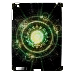 Green Chaos Clock, Steampunk Alchemy Fractal Mandala Apple Ipad 3/4 Hardshell Case (compatible With Smart Cover) by jayaprime