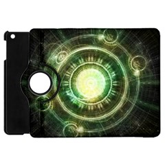 Green Chaos Clock, Steampunk Alchemy Fractal Mandala Apple Ipad Mini Flip 360 Case by jayaprime