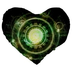 Green Chaos Clock, Steampunk Alchemy Fractal Mandala Large 19  Premium Heart Shape Cushions by jayaprime