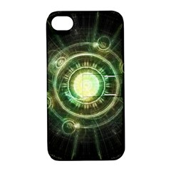 Green Chaos Clock, Steampunk Alchemy Fractal Mandala Apple Iphone 4/4s Hardshell Case With Stand by jayaprime