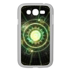 Green Chaos Clock, Steampunk Alchemy Fractal Mandala Samsung Galaxy Grand Duos I9082 Case (white) by beautifulfractals