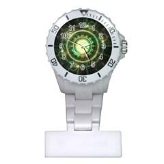Green Chaos Clock, Steampunk Alchemy Fractal Mandala Plastic Nurses Watch by beautifulfractals