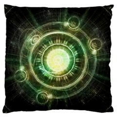 Green Chaos Clock, Steampunk Alchemy Fractal Mandala Standard Flano Cushion Case (two Sides) by jayaprime