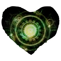 Green Chaos Clock, Steampunk Alchemy Fractal Mandala Large 19  Premium Flano Heart Shape Cushions by jayaprime