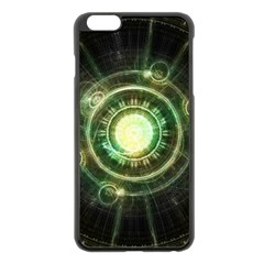 Green Chaos Clock, Steampunk Alchemy Fractal Mandala Apple Iphone 6 Plus/6s Plus Black Enamel Case by jayaprime