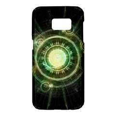 Green Chaos Clock, Steampunk Alchemy Fractal Mandala Samsung Galaxy S7 Hardshell Case  by jayaprime