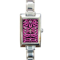 Skin2 Black Marble & Pink Brushed Metal Rectangle Italian Charm Watch by trendistuff