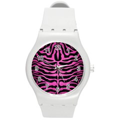 Skin2 Black Marble & Pink Brushed Metal (r) Round Plastic Sport Watch (m) by trendistuff