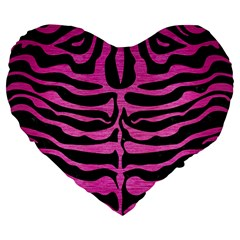 Skin2 Black Marble & Pink Brushed Metal (r) Large 19  Premium Flano Heart Shape Cushions by trendistuff