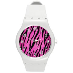 Skin3 Black Marble & Pink Brushed Metal Round Plastic Sport Watch (m)