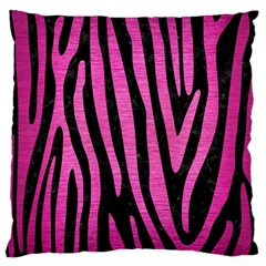 Skin4 Black Marble & Pink Brushed Metal Large Cushion Case (two Sides) by trendistuff
