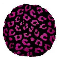 Skin5 Black Marble & Pink Brushed Metal Large 18  Premium Flano Round Cushions by trendistuff