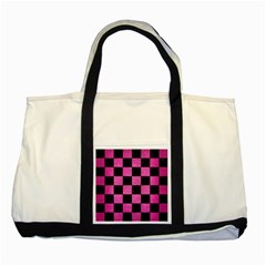 Square1 Black Marble & Pink Brushed Metal Two Tone Tote Bag by trendistuff