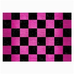 Square1 Black Marble & Pink Brushed Metal Large Glasses Cloth (2 Side) by trendistuff