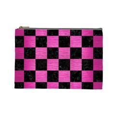 Square1 Black Marble & Pink Brushed Metal Cosmetic Bag (large)  by trendistuff