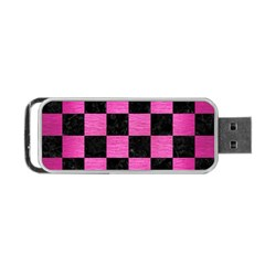 Square1 Black Marble & Pink Brushed Metal Portable Usb Flash (one Side) by trendistuff