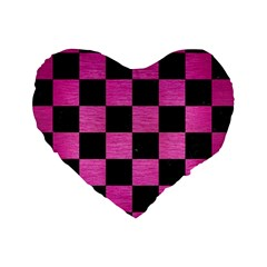 Square1 Black Marble & Pink Brushed Metal Standard 16  Premium Heart Shape Cushions by trendistuff