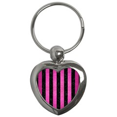 Stripes1 Black Marble & Pink Brushed Metal Key Chains (heart)  by trendistuff
