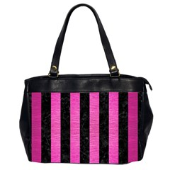 Stripes1 Black Marble & Pink Brushed Metal Office Handbags (2 Sides)  by trendistuff