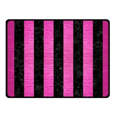 Stripes1 Black Marble & Pink Brushed Metal Fleece Blanket (small) by trendistuff