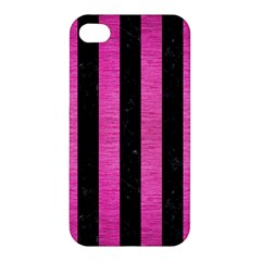 Stripes1 Black Marble & Pink Brushed Metal Apple Iphone 4/4s Premium Hardshell Case by trendistuff