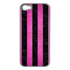Stripes1 Black Marble & Pink Brushed Metal Apple Iphone 5 Case (silver) by trendistuff