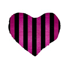 Stripes1 Black Marble & Pink Brushed Metal Standard 16  Premium Flano Heart Shape Cushions by trendistuff