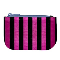 Stripes1 Black Marble & Pink Brushed Metal Large Coin Purse by trendistuff