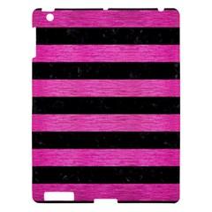 Stripes2 Black Marble & Pink Brushed Metal Apple Ipad 3/4 Hardshell Case by trendistuff
