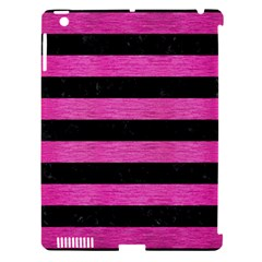 Stripes2 Black Marble & Pink Brushed Metal Apple Ipad 3/4 Hardshell Case (compatible With Smart Cover) by trendistuff