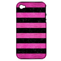 Stripes2 Black Marble & Pink Brushed Metal Apple Iphone 4/4s Hardshell Case (pc+silicone)