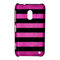 Stripes2 Black Marble & Pink Brushed Metal Nokia Lumia 620 by trendistuff