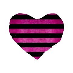 Stripes2 Black Marble & Pink Brushed Metal Standard 16  Premium Flano Heart Shape Cushions by trendistuff