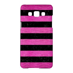 Stripes2 Black Marble & Pink Brushed Metal Samsung Galaxy A5 Hardshell Case  by trendistuff